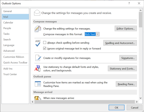 After that choose Mail option from Outlook panel