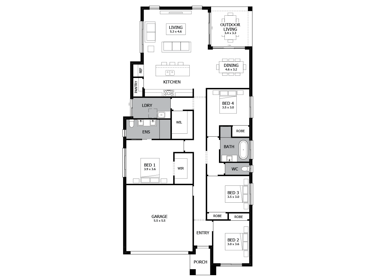 Type 1 - modern single floor house designs